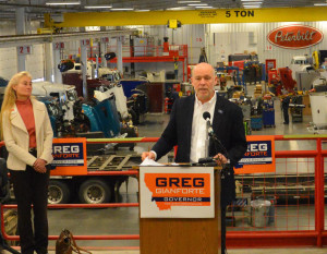 Greg Gianforte announces his candidacy for Montana governor on Wednesday at Peterbilt in Lockwood. The Bozeman Republican thanked his wife, Susan, at left, for her support at the beginning of his speech. (Jonathan McNiven photo)